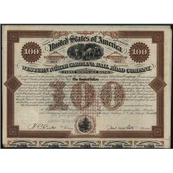 Western North Carolina Railroad Co., Issued Bond.
