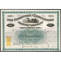 Cincinnati and Springfield Railway Co., Issued Bond Lot of 15.