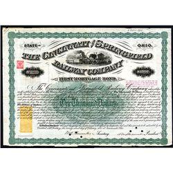 Cincinnati and Springfield Railway Co., Issued Bonds Lot of 18.