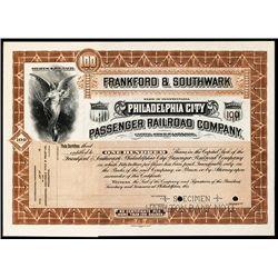 Frankford & Southwark Philadelphia City Passenger Railroad Co., Specimen Stock.