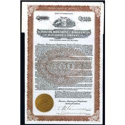Scranton, Montrose and Binghamton Railroad Co., Issued Bond.