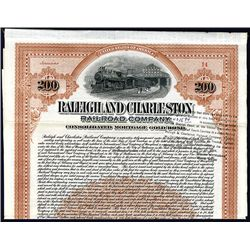 Raleigh and Charleston Railroad Co, 1906 Issued Bond.