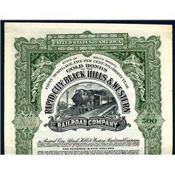 Rapid City, Black Hills & Western Railroad Co., Specimen Bond.