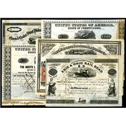 Railroad Issued Stocks and Bonds, Lot of 5.