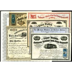Railroad Issued Stocks and Bonds, Lot of 7.
