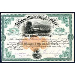 Atlantic, Mississippi & Ohio Railroad Co. 1881 Issued Stock with Imprinted Revenue.