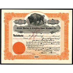 Grays Harbor & Columbia River Railway Co., Low Serial Number Issued Stock.