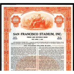 San Francisco Stadium, Inc., Specimen Bond.