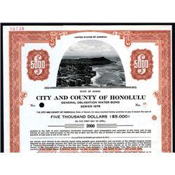 City and County of Honolulu, Specimen Bond.