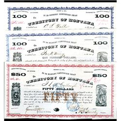 Territory of Montana, Issued Bonds Lot of 3.