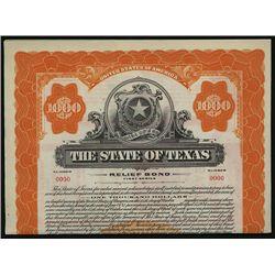State of Texas Specimen Bond.