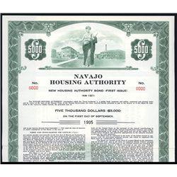 Navajo Housing Authority Specimen Bond.