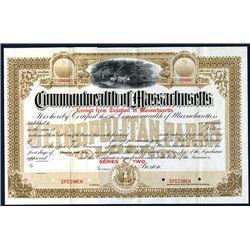 Commonwealth of Massachusetts, Specimen Bond.