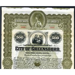 City of Greensboro, Specimen Bond.