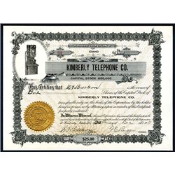 Kimberly Telephone Co., Issued Stock.