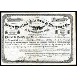 Baxter Overland Telephone & Telegraph Co. Issued Stock.