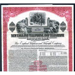 New England Telephone and Telegraph Co, Specimen Bond.