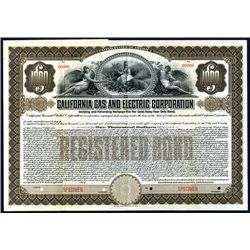 California Gas and Electric Corp, Specimen Bond.