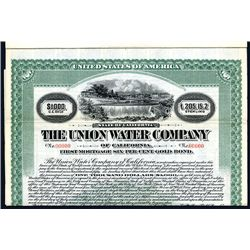 Union Water Co., Specimen Bond.
