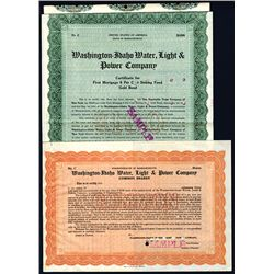 Washington Idaho Water, Light & Power Co., Specimen Bond and Stock.