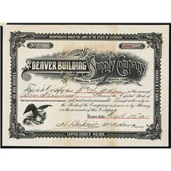 Denver Building Supply Co. Issued Stock.