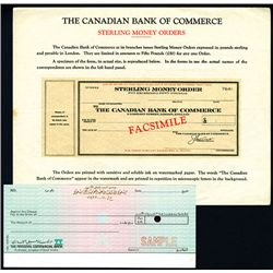 Canadian Bank of Commerce Traveler Check and Saudi Arabia Specimen Check Pair.