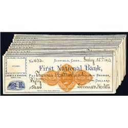 First National Bank Issued Checks, Lot of 21.
