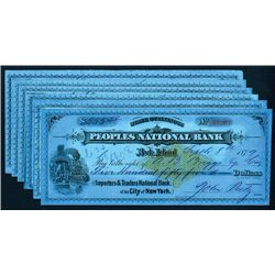 Peoples National Bank, Issued Checks Lot of 6.