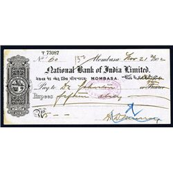 National Bank of India Ltd., 1902 Issued Check.