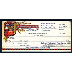 Ralston Purina Co., 1912 Issued Check.