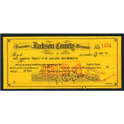 Treasurer of Jackson County, Missouri, 1934 Issued Check.