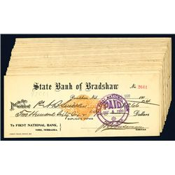 State Bank of Bradshaw Issued Checks, Lot of 23.