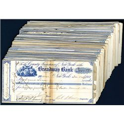 Broadway Bank Issued Checks, Lot of 72.