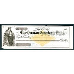German American Bank, Unissued Check with RN-G3 Revenue with Graphic Co. Imprint.