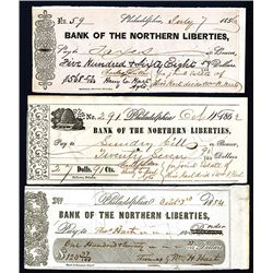Bank of Northern Liberties Issued Checks, Lot of 36.