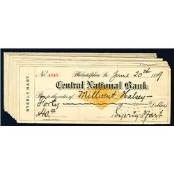 Central National Bank, 1899 Issued Checks Lof of 14.