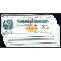 Ross & Williams, Bankers., Issued Checks Lot of 10.