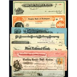 Assortment of Issued and Unissued Checks, Lot of 9.