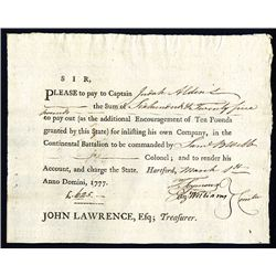 Continental Army, 1777 Issued Check.