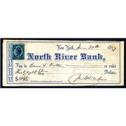 North River Bank Issued Check with John Draper Signature.