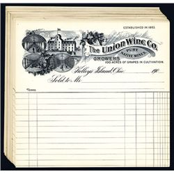 Union Wine Co., 1900, Unissued Bill Heads Lot of 17.