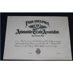 Philadelphia Automobile Trade Ass., Membership Certificate Proof.