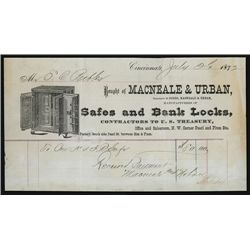 Macneale & Urban, Safes and Bank Locks, Invoice.