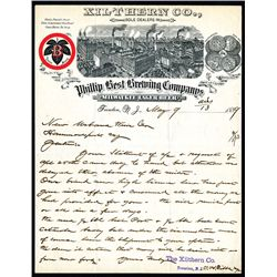 Xilthern Co. sole distributers of Phillip Best Brewing Co., Letterhead.