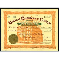 Butte Business College, Issued Scholarship Certificate.