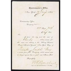 Quartermaster's Office Receipt for Capture of Deserter from 121 Reg't, NY.