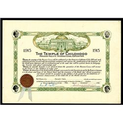 """Panama-Pacific International Expo """" Temple of Childhood"""" 1915 Certificate."""