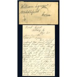 Letter and Envelope, 1890