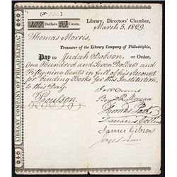 Library Company of Philadelphia, Issued Receipt.