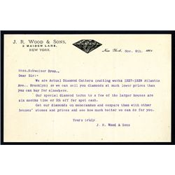 J.R. Wood & Sons Diamond Cutters, Letterhead.